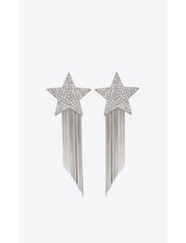 Stars & Love Star Earrings With Brass Chains by Saint Laurent