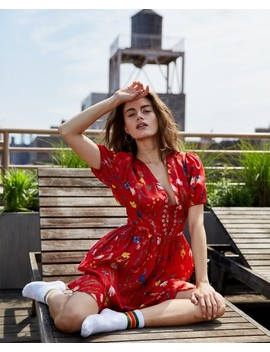 Short Red Dress With Floral Print by The Kooples