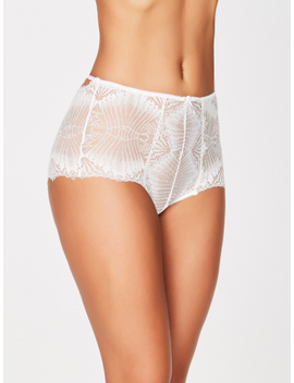Leia Scalloped Lace Bridal High Waist Panty by Frederick's Of Hollywood
