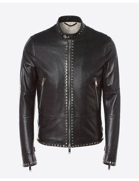 Rockstud Untitled Leather Biker Jacket by Valentino