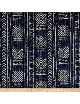 Genevieve Gorder Mali Mud Cloth Linen Indigo Fabric by Fabric