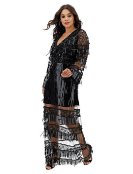 A Star Is Born Long Sleeve Sheer Maxi Dress by Simply Be