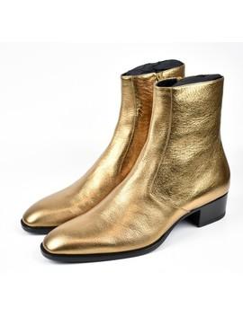 Saint Laurent Paris/ Saint Laurent Paris 16 Aw Metallic Gold Side Zip Boots 443199 Bsz00 8056 Size: 44 Colors: Metallic Gold by Rakuten Global Market