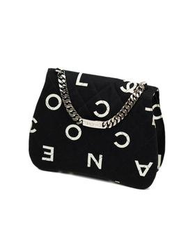 Classic Flap Rare Vintage And Letter Nameplate Black & White Canvas Satchel by Chanel