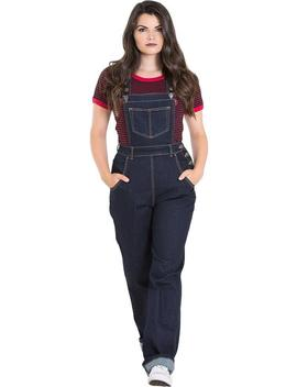 Elly May Denim [Navy] | Dungarees* by Hell Bunny