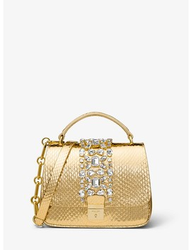 Mia Small Metallic Snakeskin Shoulder Satchel by Michael Kors Collection