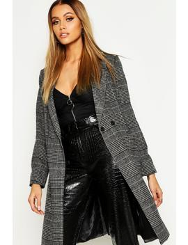 Check Collared Wool Look Coat by Boohoo