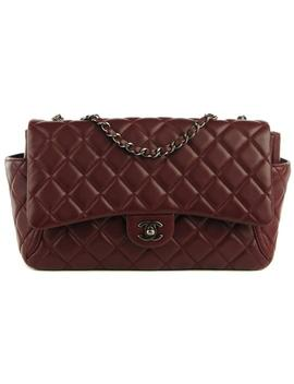 2.55 Reissue Around Pockets Medium Classic Single Flap Cc Logo Quilted Burgundy Bordeaux Lambskin Leather Shoulder Bag by Chanel