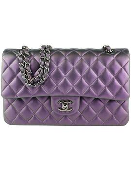 Classic Flap Medium Purple Iridescent Lambskin Shoulder Bag by Chanel
