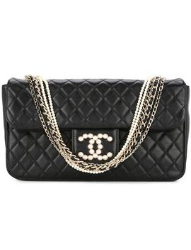 Classic Flap 2.55 Reissue Cc Pearl Medium Classic Black Lambskin Leather Satchel by Chanel