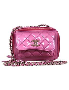 Camera Quilted Small Purple Patent Leather Cross Body Bag by Chanel