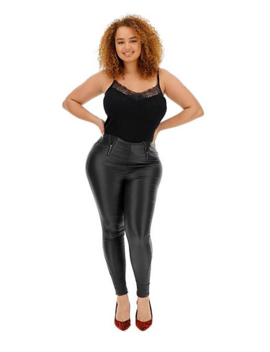 Black Coated Zip Front Curve Control High Waist Coated Shaper Jeggings by Simply Be