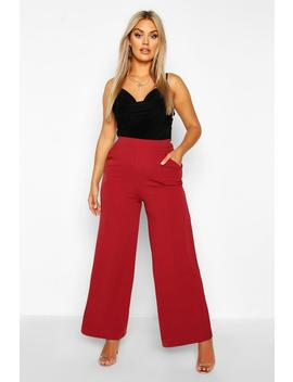 Plus High Waisted Tailored Wide Leg Trousers by Boohoo