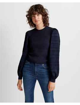 Woven Sleeve Crewneck Sweater by Club Monaco