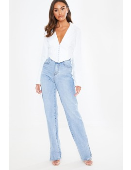 Light Wash Denim Split Hem Straight Leg Jeans by In The Style