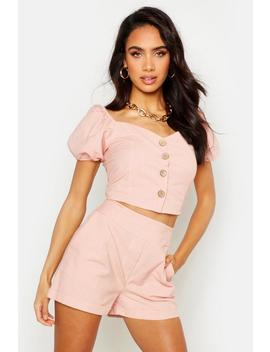 Button Through Linen Puff Sleeve Top by Boohoo