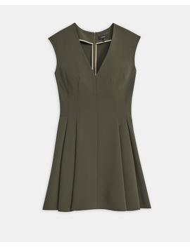 Crepe Pleated Cap Sleeve Dress by Theory