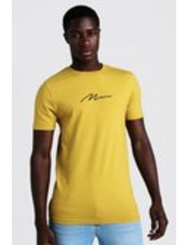 Muscle Fit Man Signature Embroidered T Shirt by Boohoo Man