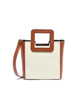 'shirley' Mini Leather Handle Canvas Tote by Staud