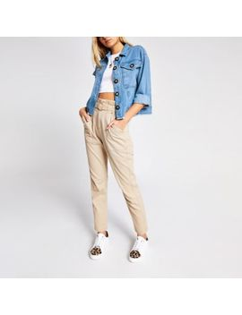 Blue Denim Button Cropped Shacket by River Island
