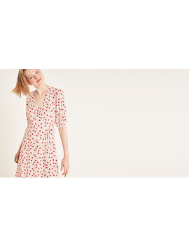 Cream And Red Floral Fenn Wrap Midi Dress        Boom!You're With Us Now. by Nobody's Child