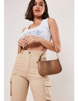 Taupe Faux Leather Croc Shoulder Bag by Missguided