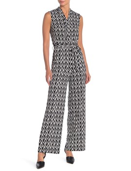 Sleeveless Matte Jersey Geometric Print Jumpsuit by Donna Morgan