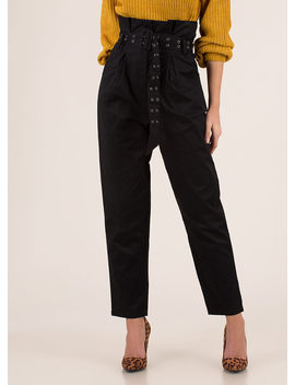 Belt It Out Paper Bag Waist Trousers by Go Jane