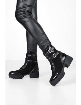 Studded Chunky Biker Boots by Boohoo