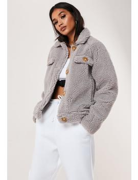 Tall Grey Crop Teddy Jacket by Missguided