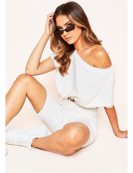 Kylie White Crop Cycle Short Co Ord Set by Missy Empire