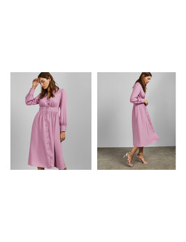 Long Sleeved Deep V Midi Dress by Ted Baker