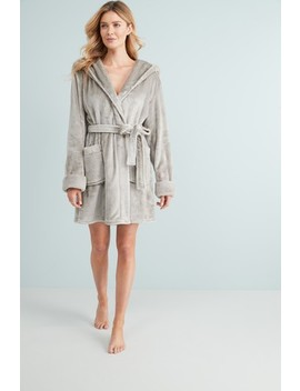 Grey Supersoft Robe With Faux Fur Trims by Next