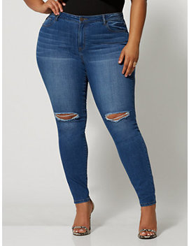 Medium Wash Mid Rise Destructed Cross Hatch Skinny Jeans by Fashion To Figure