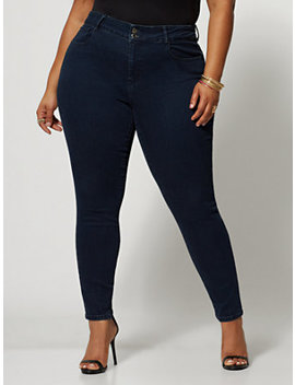 Dark Wash Premium Mid Rise Skinny Jeans by Fashion To Figure