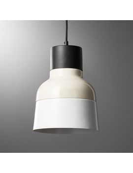 Soso Tan And White Metal Pendant Light by Crate&Barrel