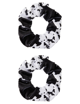 2x Velvet Cow Print Hair Scrunchies by Accessorize