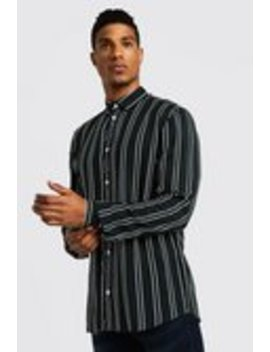Vertical Stripe Long Sleeve Shirt by Boohoo Man