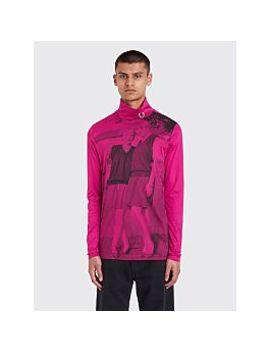 Raf Simons X Fred Perry Long Sleeve Print Rollneck T Shirt Pop Pink by Très Bien