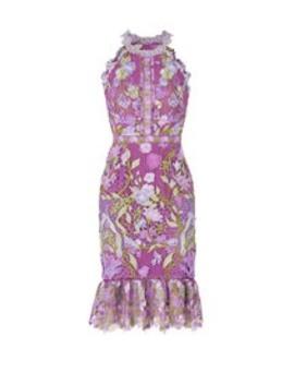 Purple Lace Flounce Sheath by Marchesa Notte