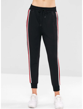 Salezaful High Waisted Striped Patched Pants   Black M by Zaful