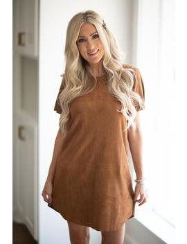 Day To Day Suede Dress  Camel by Hazel & Olive
