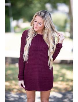 Early Morning Sweater Tunic Dress  Wine by Hazel & Olive