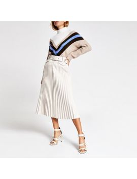 Cream Pleated Faux Leather Midi Skirt by River Island