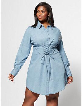 Denim Girl Boss Corset Shirt Dress by Fashion To Figure