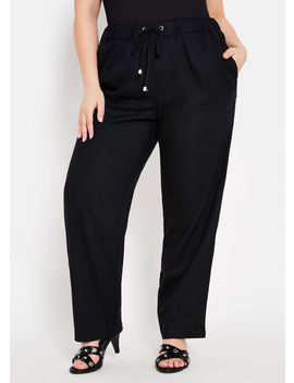 Solid Linen Wide Leg Pant by Ashley Stewart