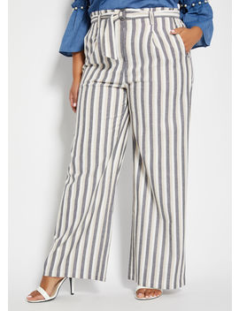 Stripe Wide Leg Linen With Tie Belt by Ashley Stewart