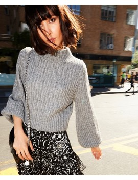 Studded Grey Turtleneck Sweater by The Kooples