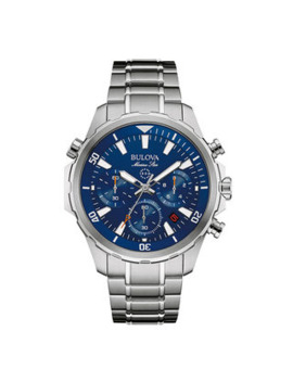 Men's Bulova Marine Star Chronograph Watch With Blue Dial (Model: 96 B256) by Zales