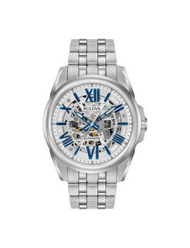 Men's Bulova Sutton Automatic Watch With Silver Tone Skeleton Dial (Model: 96 A187) by Zales